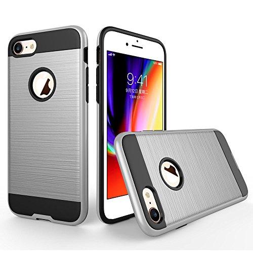 UKDANDANWEI Apple iPhone 8 Hülle,Super Schild Hohe Gel Silikon Haut Slim Fit Zurück Schale Abdecken Schutzhülle Case Cover für Apple iPhone 8 - Rot Silber