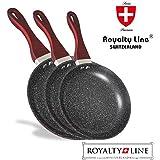 Royalty Line–Juego de 3sartenes con revestimiento en aluminio, revestimiento antiadherente de mármol, metal, diseño suizo