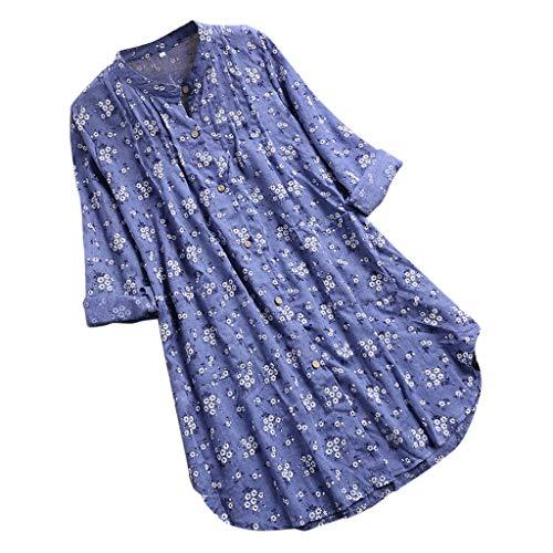 iHENGH Damen Herbst Winter Bequem Mantel Lässig Mode Jacke Frauen Frauen mit Langen Ärmeln Vintage Floral Print Patchwork Bluse Spitze Splicing Tops -
