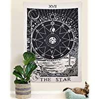 """Amkun Tarot Wall Tapestry The Moon The Star and Sun Tapestry Medieval Europe Divination Tapestry Wall Hanging Home Decorations Mysterious For Bedroom Home Decor (The Star, 51""""×59"""")"""