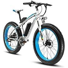 Cyrusher® Extrbici XF660 48V 500 vatios blanco azul Mens bicicleta eléctrica Mountain Bike 7 velocidades bicicletas eléctricas frenos de disco hidráulicos