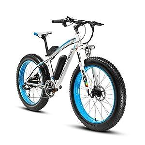 Cyrusher® Extrbici XF660-Cadre en alliage d'aluminium-Moteur électrique puissant 48V* 500 W- Blanc Bleu- Vélo électrique pour Homme- Roue libre à 7 vitesses- Freins à disques
