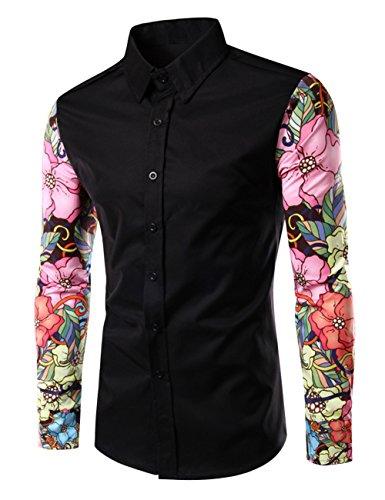 thinkmax-men-flower-printing-sleeves-splicing-tops-lapel-long-sleeve-slim-shirt-black-xxl
