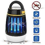 WloveTravel Lampe Anti Moustique, Lampe 3 en 1 Bug Lanterne de Camping Bug Zapper et Charge d'urgence, Batterie Rechargeable de 2 200 mAh avec Crochet escamotable à 3 Modes (Noir)