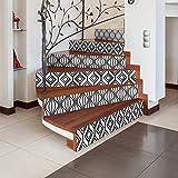 4 Stickers adhésifs escalier carrelages | Sticker Autocollant contremarche Carreaux de Ciment - Stickers contremarche carrelages - azulejos - 15 x 105 cm - 4 Bandes