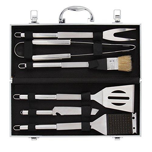 Grillbesteck Set (6-teilig), Edelstahl mit Aluminium-Koffer, 1 Jahr Garantie