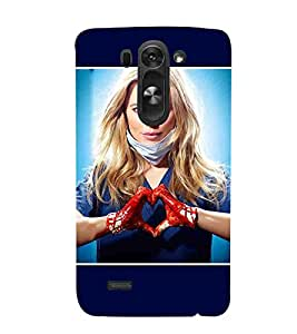 For LG G3 Beat beautiful girl ( beautiful girl, girl, cute girl, blue background, love symble ) Printed Designer Back Case Cover By CHAPLOOS