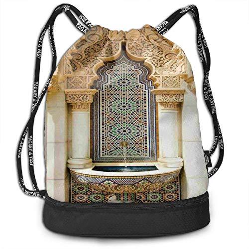 werert Ambesonne Vintage Building Design Large Capacity Drawstring Bag Gym Bag Sport Bag for Men Women