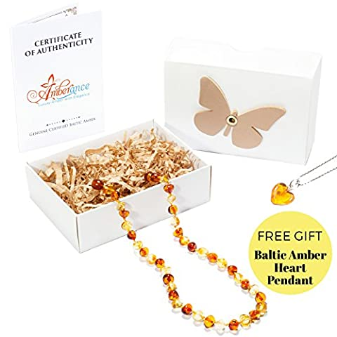 Amber Necklace 32-34 cm with Free Baltic Amber Pendant - 100% Genuine Premium Baltic Amber Beads (Lemon &
