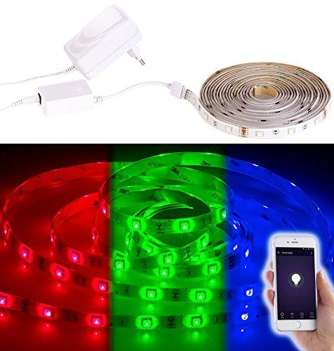 Luminea WLAN LED Strip: WLAN-LED-Streifen in RGB, 5 m, Amazon Alexa & Google Assistant komp. (Smarthome-LED-Strip)
