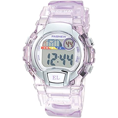Pasnew Water Resistant Swimming Led Digital Sport Watch for Boys Girls (Purple)