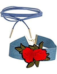Jewels Galaxy Exclusive Edition Of Blue Lace & Broad Red Rose Designer Stylish Choker Necklaces For Women/Girls...