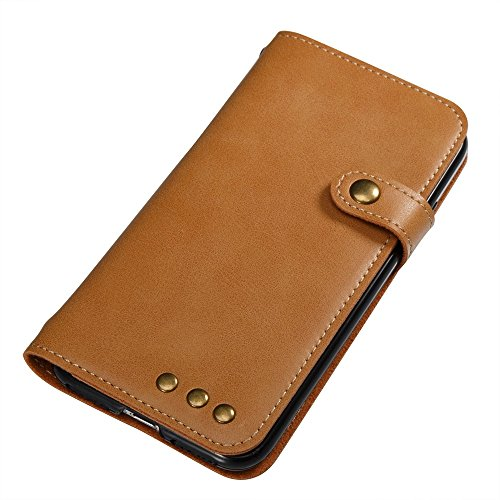 JIALUN-Telefon Fall Für iPhone 7, Normallack Faux Ledertasche Retro Folio Horizontale Flip Stand Case mit Magnetniet Verschluss & Card Slots & Lanyard ( Color : Brown ) Khaki