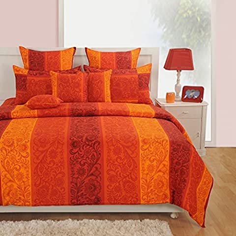 Yuga Décor Printed Orange Cotton King Size Decorative Duvet Cover Bed Set 90 X 108 Inches