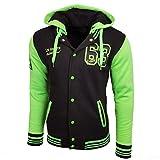 College Baseball Kapuzen Jacke Damen Herren Oldschool Jacket Sweatjacke 6876-1, Farbe:Schwarz / Grün;Größe:L