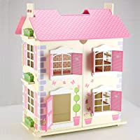 Wooden Alice Dolls House 3 Floors with Furnitures Toy Dollhouse - Cream