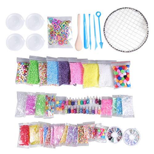 SUPVOX 72 Packs Slime Schaumkugeln Set DIY Material Kit Craft Schaumperlen gehören Schaumkugeln, Glitzergläser, Lagerbehälter und Werkzeuge für DIY Hausgemachter Schleim (nicht enthalten Schleim) -