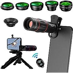 Patasen kit de lentilles de téléphone 8 en 1 pour téléobjectif 18X, Grand Angle, Macro, Zoom, Fisheye, Objectif CPL, trépied, déclencheur à Distance pour iPhone Samsung et la Plupart des téléphones