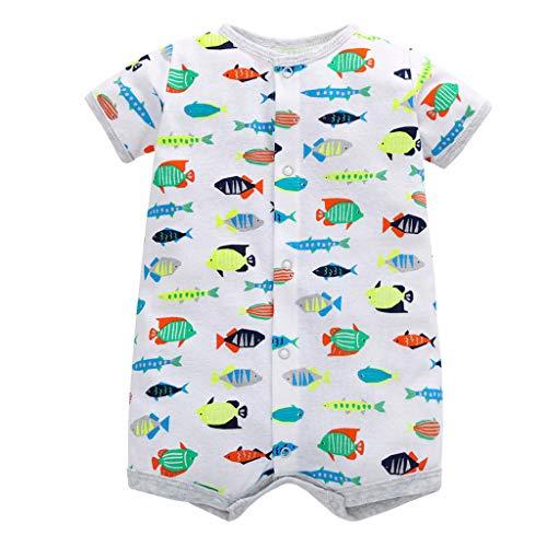 MRULIC Baby Strampler Mädchen und Jungen Einteilige Cartoon Gestreiften Bodysuit Kurzarm Overall Sommer Jumpsuit(Grau,12-18 Monate)
