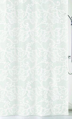Kleine Wolke 5292100305 Spitze Duschvorhang, Peva, weiß, 180 x 200 x 0.2 cm