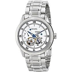 Bulova Automatic 96A118 - Reloj automático de diseño para hombre - Acero inoxidable - Esfera blanca y manecillas azules