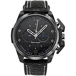 JSDDE Mens Sports Style Dial Japanese Quartz All Black Leather Band Watch 98FT/3ATM Water Resistant Business Casual