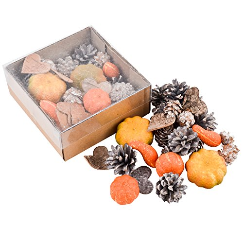 (Dadeldo Living & Lifestyle Bastel Set Herbst Natur 28er Deko 3-4-5cm orange braun Halloween)