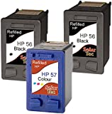 BEST VALUE Refilled HP 56 & 57 Ink Cartridges - 2x Black HP56 1x Colour HP57 For HP Deskjet 5550, 5150, 5652, Officejet 5610, Photosmart 7660, 7760, 7762, 7960, PSC 1215, 1317, 2410, 2510 and more