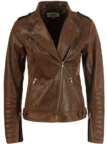 Desires Zalla Chaqueta De Cuero Cazadora de Piel para Mujer con Cuello De Solapa De Cuero Real, tamaño:L, Color:Cognac (5048)