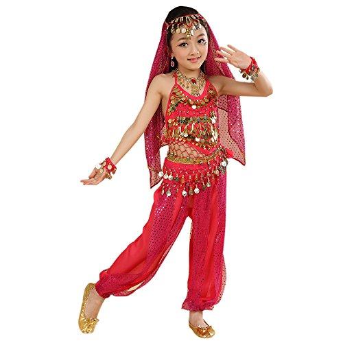 (KINDOYO 5 Stück Kinder Bühne Kostüme, Mädchen Bauchtanz indischen Tanz Kostüm, Chiffon Pailletten ethnischen Tanzbekleidung (Rose Rot , EU M = Tag L))