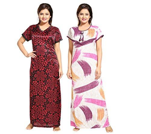 Tucute-Women-Beautiful-Heart-print-Satin-with-invisible-Zip-1492-Strips-Print-Feeding-maternity-Nursing-Nighty-Night-Gown-Night-Dress-Nightwear-Free-Size-Pack-of-2-Pcs-Style-no-1492