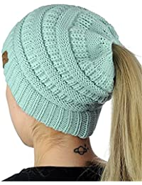 HMILYDYK mujeres cable Knit Beanie Sombreros de cola suave elástico  Ponytail Messy Bun pañuelo para la 5e8676b913a