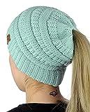HMILYDYK Damen handgefertigt Beanie Messy Bun Hüte Soft Stretch Kabel Knit Pferdeschwanz Cap Kopfband Ohr Wärmer (hellblau)