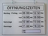 Öffnungszeiten Schild (Geschäftszeiten)Plexiglas XT Farbe Weiß -Weltneuheit -