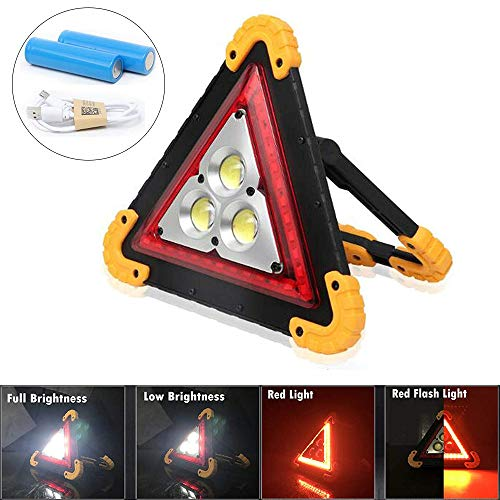 30W LED Car Recharable Emergency Light Triangle Work Light 4 Modes Portable Floodlight IP67 Waterproof, for Car Home Emergency Security Warning Lamp Led Emergency Vehicle Lights