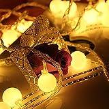 Zoweetek Guirlande Lumineuse Boules Étanche, 10 Mètres 100 ampoules LEDs, 8 Modes de Fonctionnement, Décoration Pour Noël Fête, Jardin, Mariage, Terrasse, Maison, Pelouse avec Prise EU ( Blanc chaude )