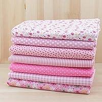 MMRM 50x 50cm 7pcs Color Rosa Floral Dot Plain algodón Patchwork Costura handwerklichen Estructura empaquetado