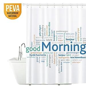 Tatkraft Good Morning Cortina Ducha Peva 180X180cm con 12 Anillos 100% Impermeable Resistente al Moho