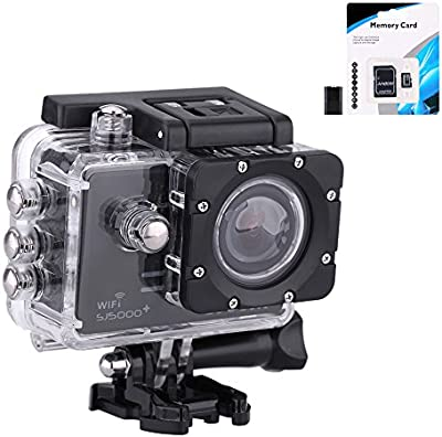 Original Sj5000 Plus Sj5000+ Ambarella A7LS75 1080P 60FPS SJCAM WiFi cámara del coche de HD Action Sports Waterproof Cam DV Camcorder deportiva action impermeable cámara d(Negro)
