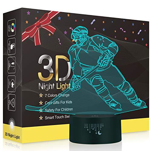 Eishockey 3D Lampe,Besrina LED Nachtlicht Illusion Lampen 7 Farben ändern Berührungssteuerung USB Optische schreibtischlampe, Nachttischlampen für Kinder Weihnachten Geburtstag Beste Geschenk