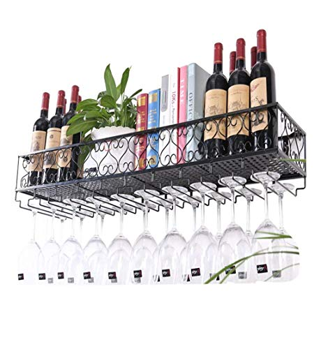 U-küche Regal (An der Wand befestigtes Metallwein-Gestell, europäisches Eisen-Weinglas-hängendes Regal u. Halter-Regal für Küche/Bar/Restaurant (Farbe : Schwarz, größe : 80*25cm))