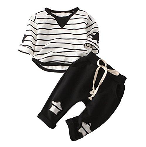 Babykleidung Honestyi Lässige Mode Mädchen Boy Kleinkind Baumwolle Stilet T Shirt Star Solid Hosen Set (Schwarz,70,80,90,100,110)