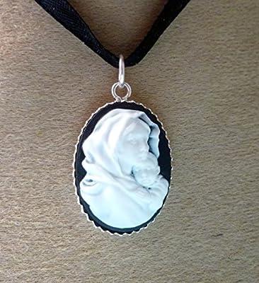 pendentif camée argent 925 vierge à l enfant