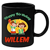 Huppme Happy Birthday Willem Black Ceramic Mug (350 ml)