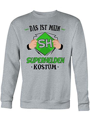 Shirt Happenz Kostüm Superheld Premium Sweatshirt | Verkleidung | Karneval | Fasching | Unisex | Sweatshirts, Farbe:Graumeliert;Größe:XS