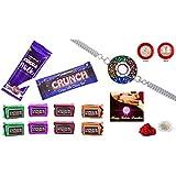 Rakhi Combo - Rakhi With Chocolate (Silver Color / Plated Rakhi) With Choclate Combo (R1_R2_C10)   Rakhi Gifts...