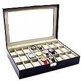 HBF 1 Pieza Caja De Reloj Rectángulo Gran Capacidad Organizador para Reloj 24 Compartimientos Cabe 24 Reloj