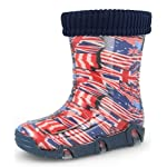 Zetpool Flags Kids Boys Girls Wellington Boots Rainy Snow Wellies with Liners (British/US Flag, 5-6 UK / 23-24 EU - 165mm)