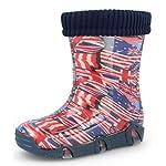 Zetpool Flags Kids Boys Girls Wellington Boots Rainy Snow Wellies with Liners (British/US Flag, 5-6 UK / 23-24 EU - 165mm)