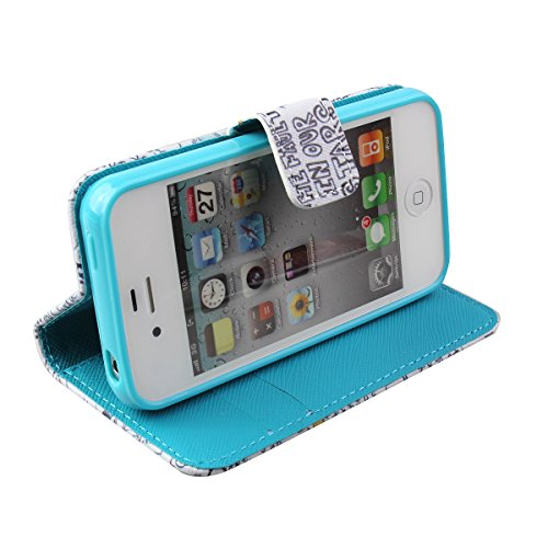 iPhone 4S Hülle, iPhone 4 Hülle,ISAKEN iPhone 4S Hülle Case,Handy Case Cover Tasche for iPhone 4S / iPhone 4, Bunte Retro Muster Druck Flip PU Leder Tasche Case Hülle im Bookstyle mit Standfunktion Ka Cartoon OKAY